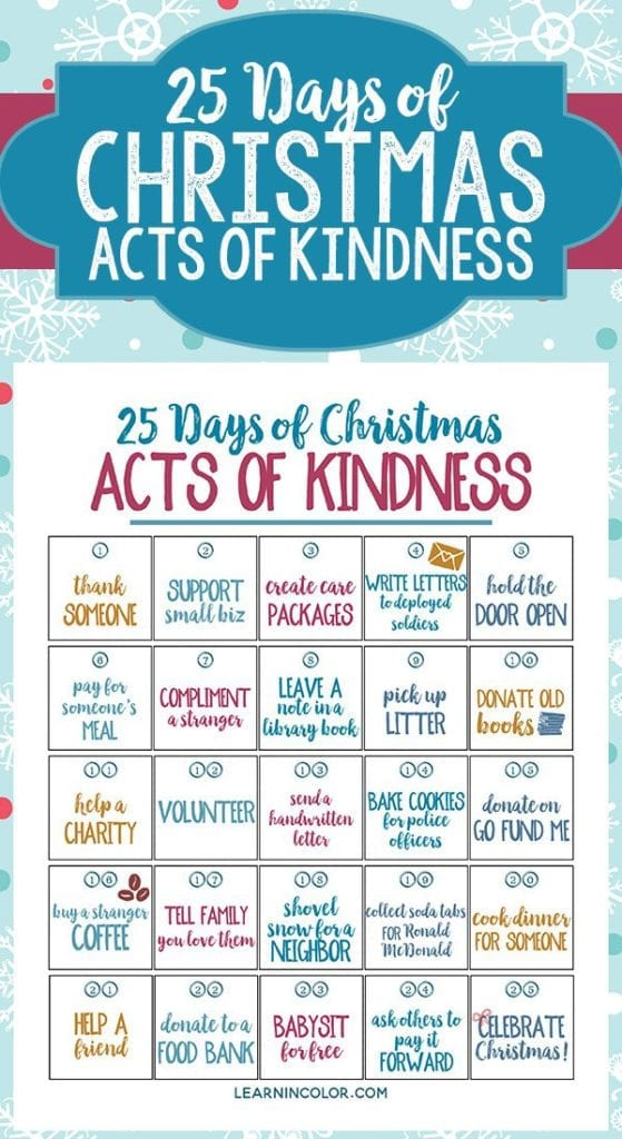 25 Days of Christmas Acts of Kindness
